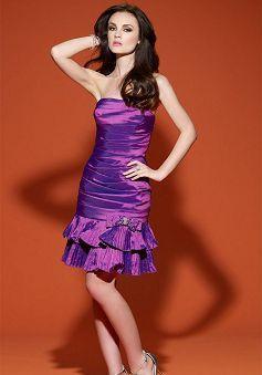 Informal Sheath/ Column Strapless Short Length Natural Waist Evening Gown - Lunadress.co.uk