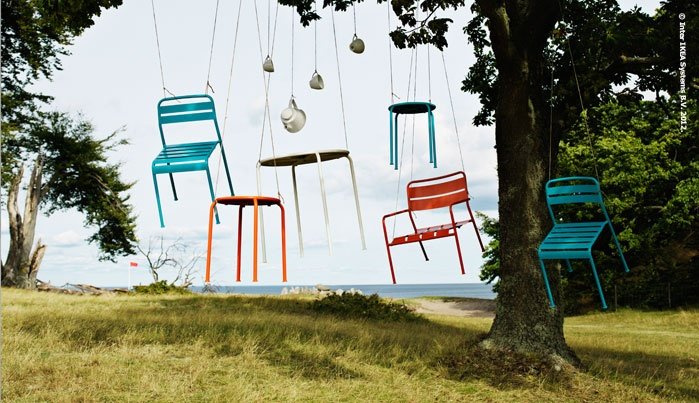 What colour is summer? Last year at IKEA, it was pink and yellow. This year it's orange and turquoise! ROXÖ steel outdoor furniture flaunts its bold summer clothes.
