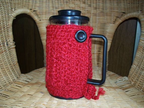 French Press Cozy Bodum Crocheted by soulybarb on Etsy, $22.00