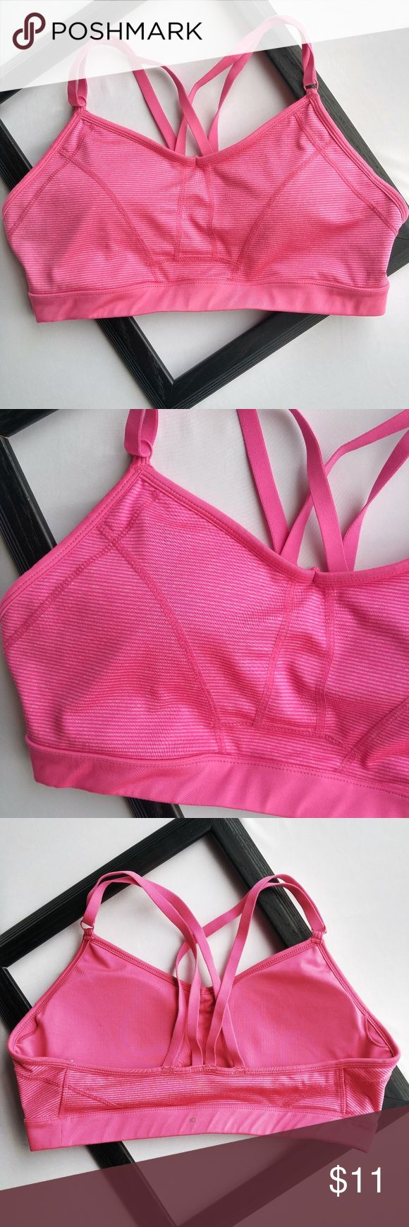 """Jockey Size XL Pink Strappy Striped Sports Bra Very good pre-owned condition- almost like new, no stains, rips, fading, or pilling.  Size XL  Striped pink-on-pink pattern  85% polyester, 15% spandex  15"""" flat across band  17.5"""" armpit to armpit  Removable padding in cups Jockey Intimates & Sleepwear Bras"""