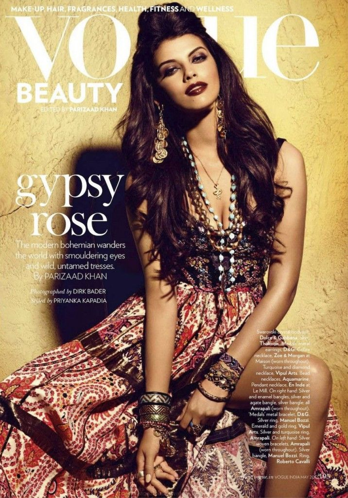 Brazilian model Gabriela Bertante photographed by Dirk Bader for an editorial Gypse Rose for the fashion magazine Vogue India for their May 2012 issue.