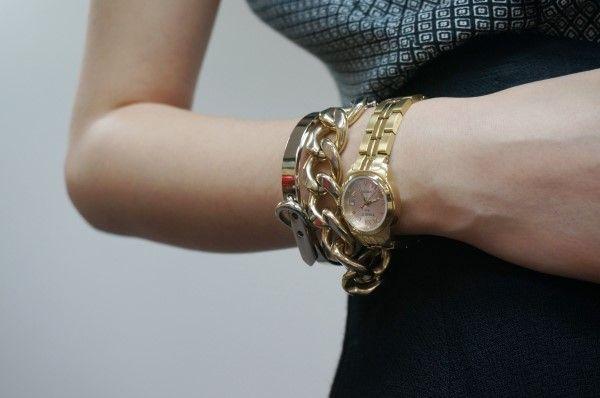 tissot, gold chain, bracelet, watch, silver, accessory