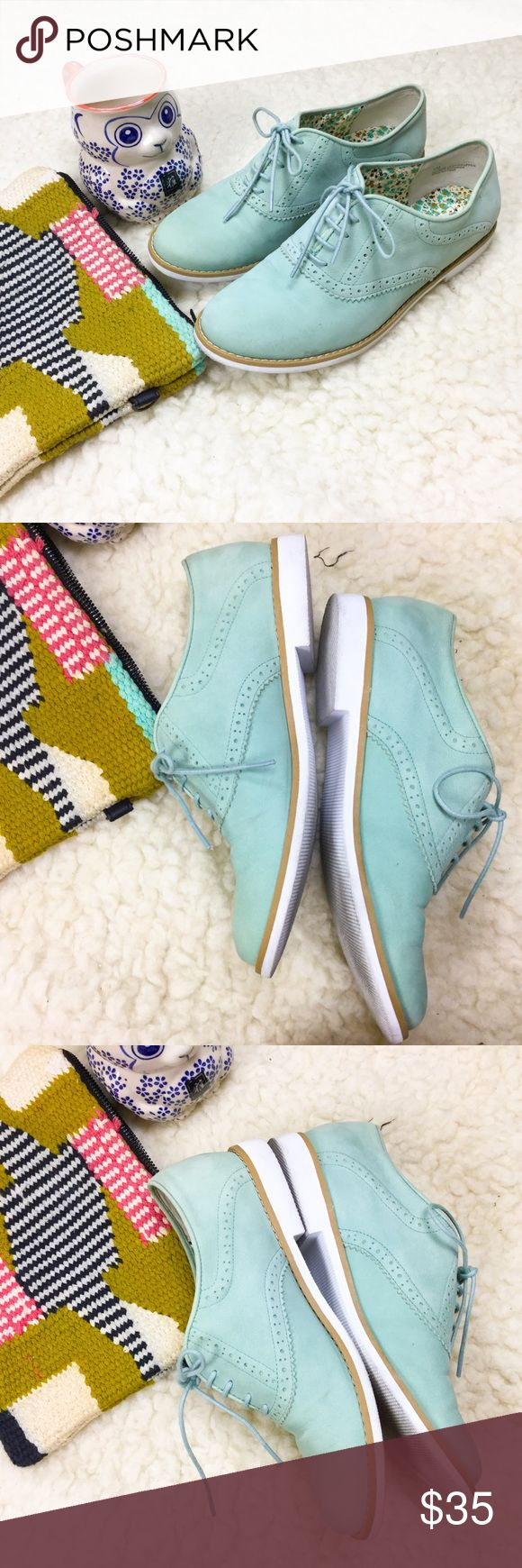 BP real leather mint green nubuck lace oxfords Super cute mint green oxfords from BP (nordstrom brand) in smooth and velvety nubuck (all leather upper, manmade sole), size 6. Preowned in great condition, very faint creasing near toebed. Nordstrom Shoes Flats & Loafers