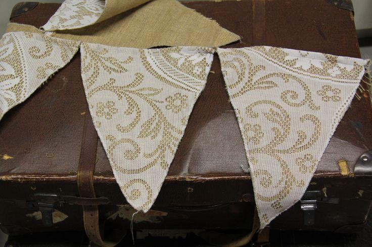 Hessian bunting for hire www.wanakaweddingflowers.co.nz/gallery/