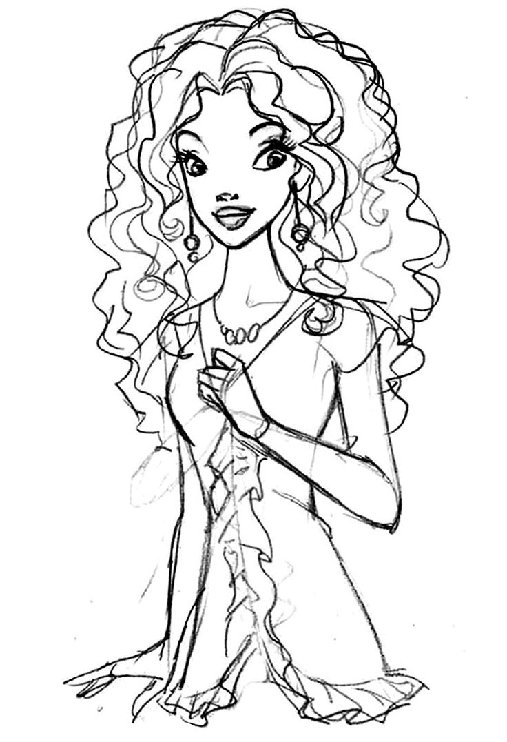BARBIE COLORING PAGES BLACK
