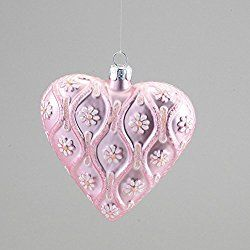 "3.5"" Blushing Pink Glittered Glass Heart with Daisies Christmas Ornament"
