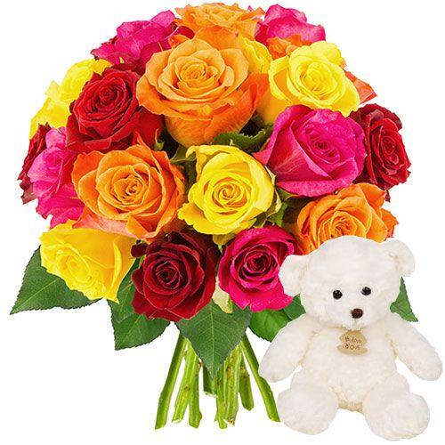 Succombez au charme de cette jolie brassée de roses multicolores, choisies avec soin par Florajet .Adorable ourson traditionnel apprécié des petits et des grands qui s'autorisent un petit retour à l'enfance. Facile à attraper, tout doux et très câlin, ce très beau doudou deviendra rapidement l'ami incontournable de bébé grâce à son extrême douceur, sa taille rassurante et son air malicieux.