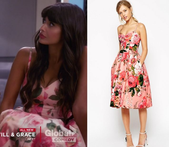 """Tahani Al-Jamil (Jameela Jamil) wears this pink rose printed dress in this episode of The Good Place, """"Team Cockroach"""". It is the ASOS SALON Rose Print Bandeau Midi Prom Dress."""