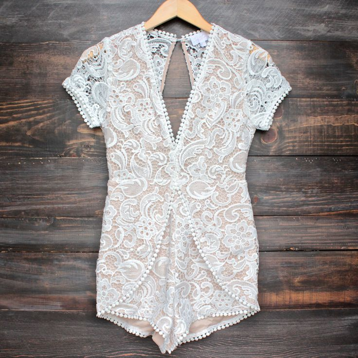 party in the back white lace romper - nude