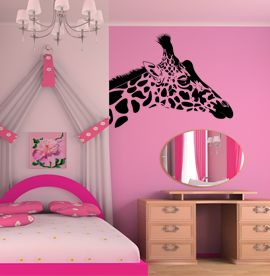 Giraffe Sticker #pink #giraffe #wallart #wallsticker #cute #interiordesign http://www.abodewallart.co.uk/wall-stickers/Giraffee-Wall-Sticker.html
