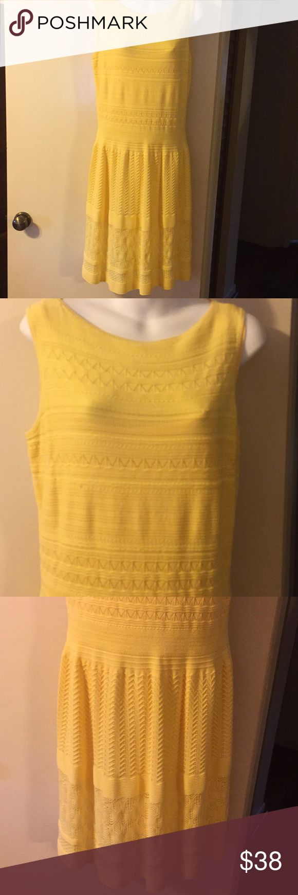 "Ralph Lauren dress Lauren Ralph Lauren NWOT Sweater Dress A line, pullover style, sleeveless, Rib Knit.  Dress has separate slip/lining (see 5th pic) 88%Cotton / 12% Nylon Bust 17"" across Waist 14"" across Hips 20 1/2"" across Length 38""      Color   SUMMER YELLOW.        Size Large Purchased at Bloomingdales for a wedding but never wore it. Always stored in original Bloomie Bag in closet. Lauren Ralph Lauren Dresses"