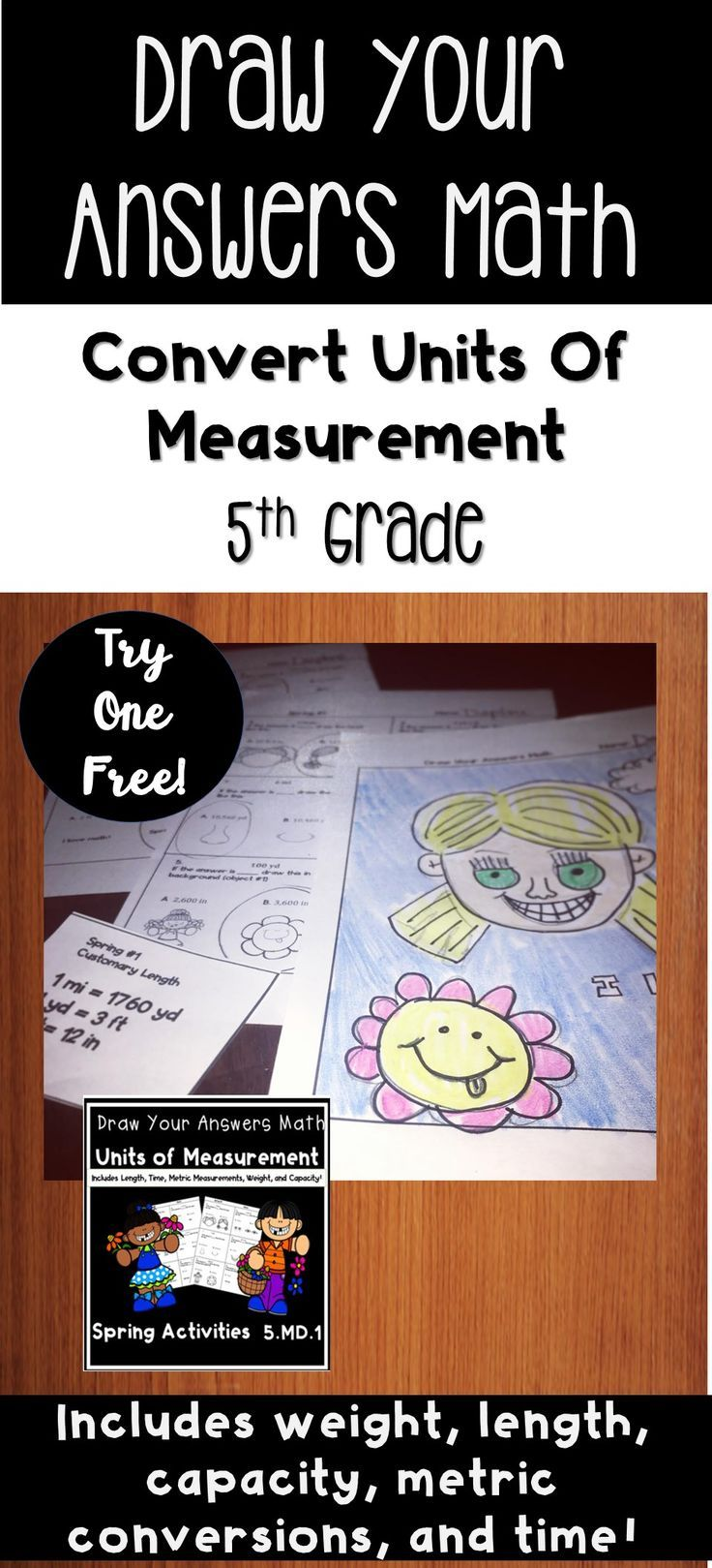 small resolution of This Spring themed math worksheet set is ideal for 5th grade. Students  convert different units o…   Measurement activities