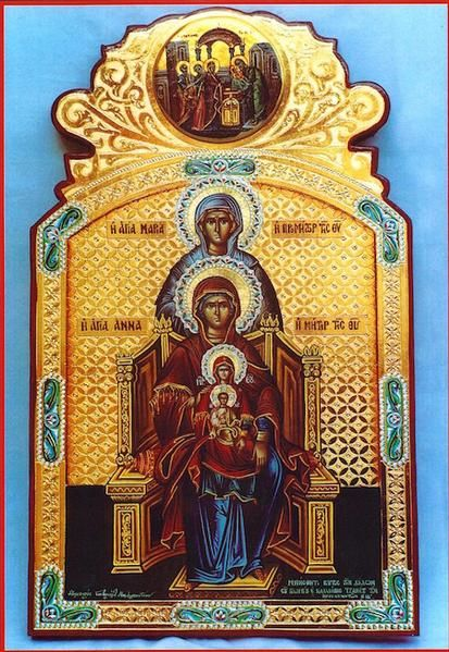 Orthodox icon of the Foremothers of our Jesus Christ: Saint Maria -mother of Saint Anna-, Saint Anna -mother of Theotokos-, Theotokos with Christ. Icon of 15th