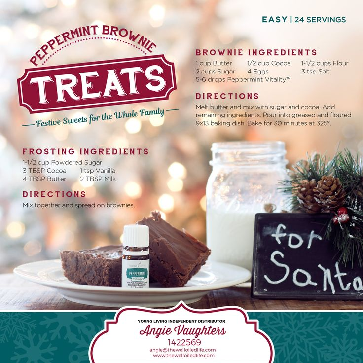 Peppermint Brownie recipe using Young Living Peppermint Vitality Essential Oil! Yummm!!!