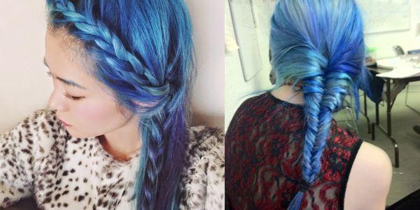 Όμορφες πλεξούδες σε μπλε μαλλιά!