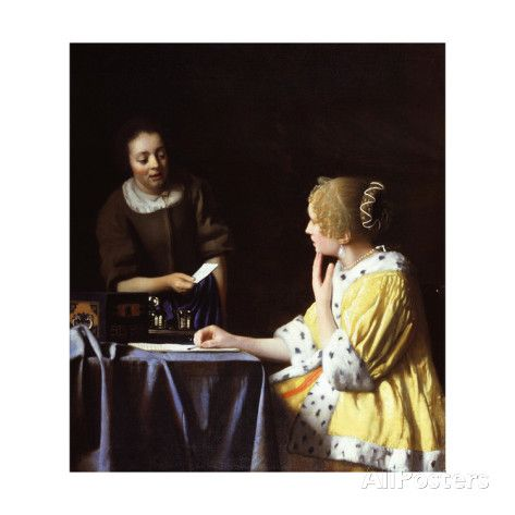Lady with Her Maidservant Holding a Letter Giclee Print by Jan Vermeer at AllPosters.com  Perhaps my favorite. It poster of this hung in my office for years after seeing the original at the FRICK museum, NYC