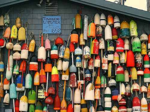lobster buoys, Provincetown (by Pilgrim on this road - Bill Revill)