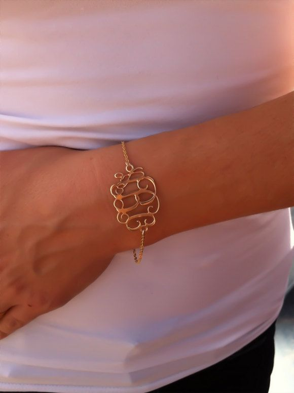 Monogram Bracelet 1.2 inch- Personalized Monogram - 18K Gold Plated & Gold Filled chain, Personalized Jewelry. $39.99, via Etsy.