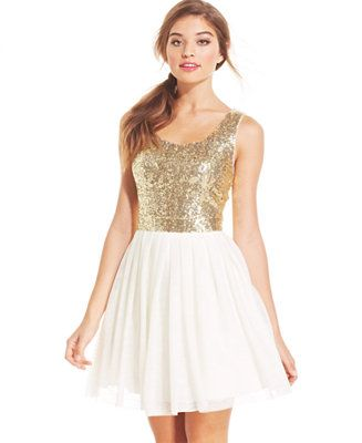 B Darlin Juniors' Sequin Pleated A-Line Dress - Juniors Dresses - Macy's
