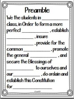 Worksheets Preamble Worksheet 25 best ideas about us constitution preamble on pinterest fil in the blank activity