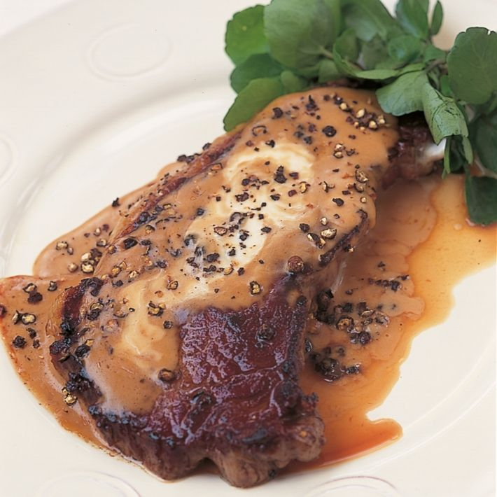 Htc entrecote steak with creme fraiche and cracked pepper sauce
