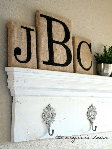 burlap and sharpies. so easy!: Houses, Shoes Boxes, Decor Ideas, Diy Crafts, Hooks, Burlap Letters, Burlap Canvas, Burlap Monograms, Paintings Burlap