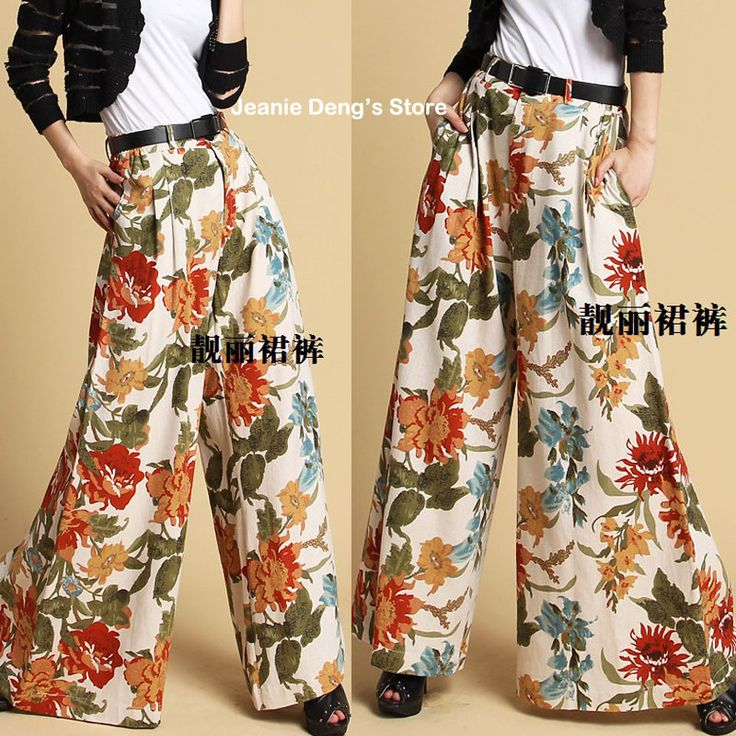 Весна лето женщин богемный цветочный узор широкий ноги без тары платье брюки женщины причинно брюки женщина лён брюкикупить в магазине Jeanie Deng's storeнаAliExpress