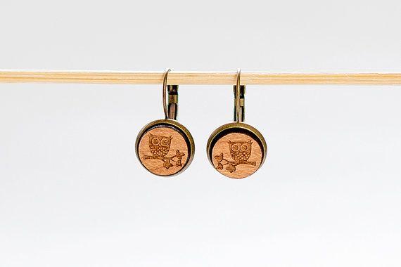 Wooden Earrings  Owl Earring  Laser cut earrings  by Strickzeit