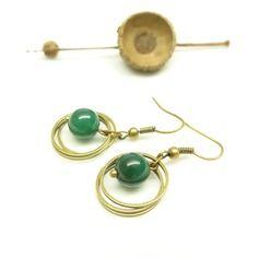 Boucles d'oreilles vintage ~°~ onyx vert ~°~