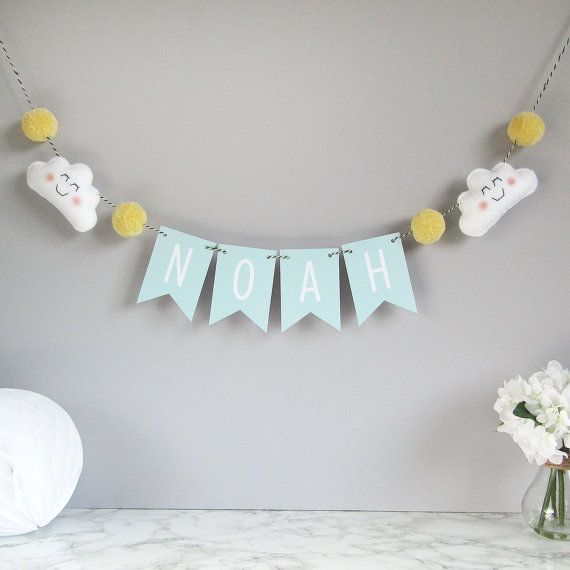 Personalised cloud name bunting, baby nursery decor, baby room decoration, personalised name bunting with felt clouds and pom poms