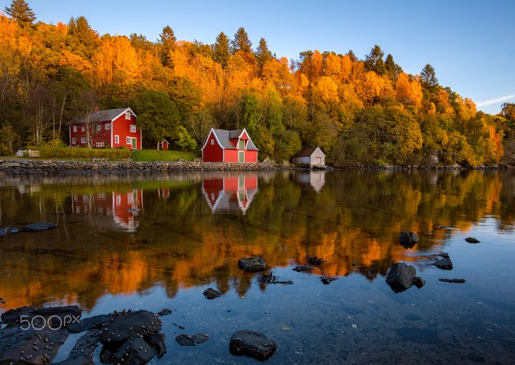 Autumn Reflections at The Coast - Beautiful autumn reflections at the coast outside Bergen, Norway.