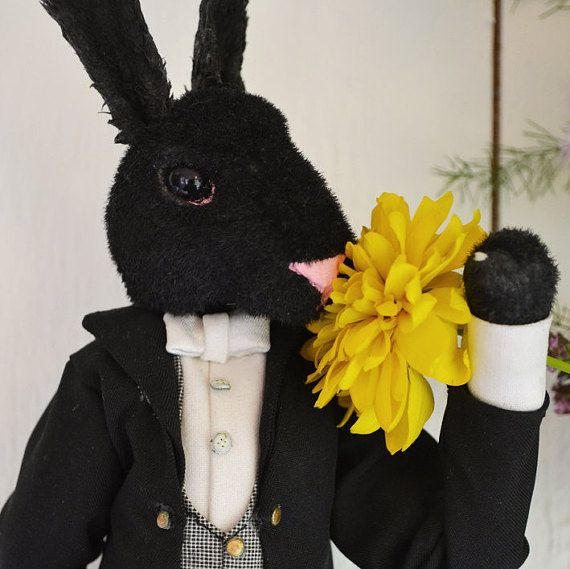This Victorian-era Valet Rabbit is smelling the flowers. Play scale with a wire skeleton perfect for posing.