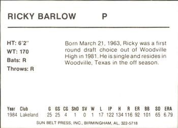 1985 Sun Belt Press Birmingham Barons #NNO Ricky Barlow Back
