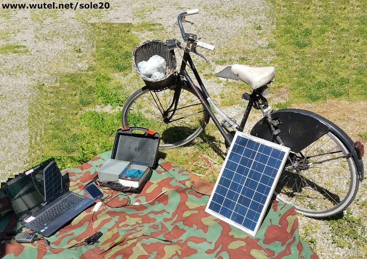 """www.wutel.net/sole20  """"DIY"""" Portable solar battery 12V and 5V USB for PC, LED lamp, mobile phone, RTX, tablet, ebook, etc.      Batteria fotovoltaica portatile (12V / 5V USB), per il funzionamento e la ricarica di apparecchiature elettroniche e informatiche."""