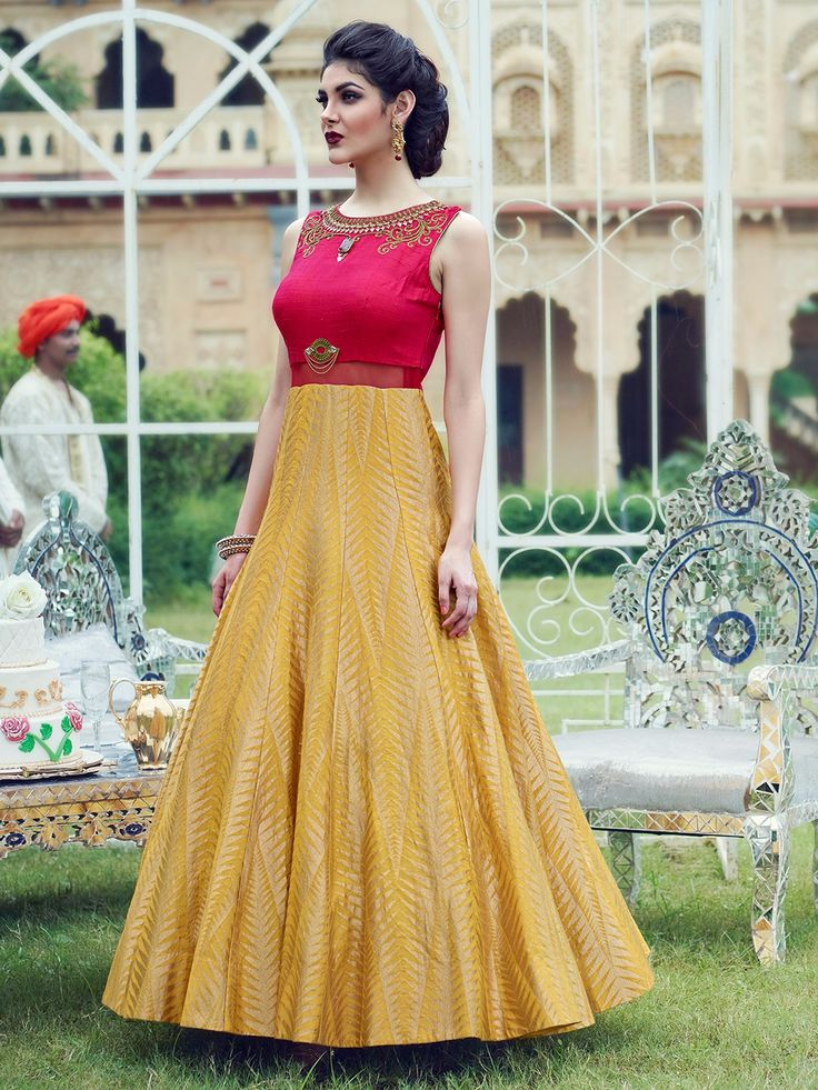 Magenta Yellow Silk Embroidered Anarkali Suit