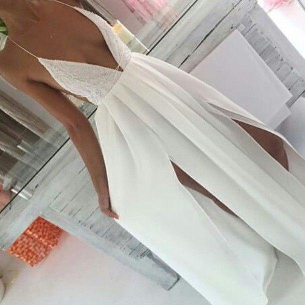 summer white v neck long dress