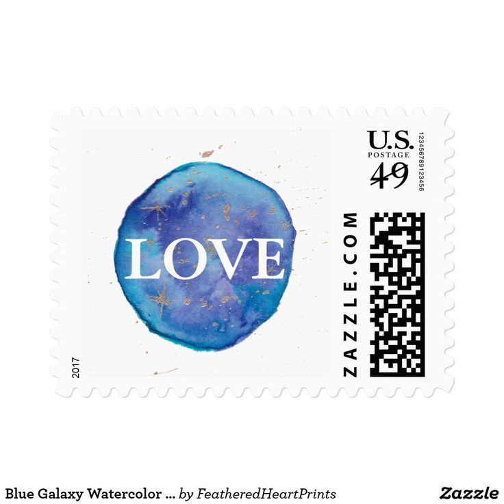 Blue Galaxy Watercolor Love Wedding Postage Stamp, teal galaxy watercolor painting