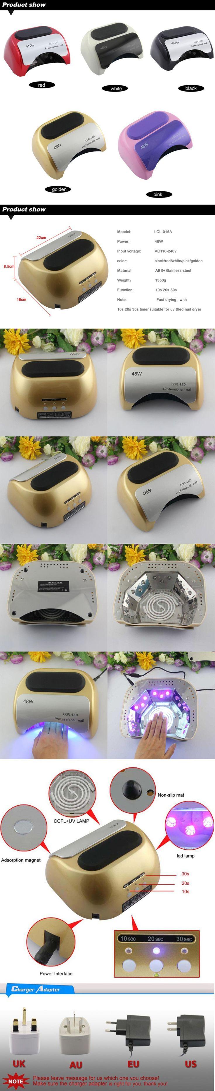 Ike 48 w 110 v 220 v eua ue AU UK Plug LED Gel de cura UV lâmpada Nail Art polonês secador de unha lâmpada LED para Manicure em Secadores de unha de Beleza & saúde no AliExpress.com | Alibaba Group