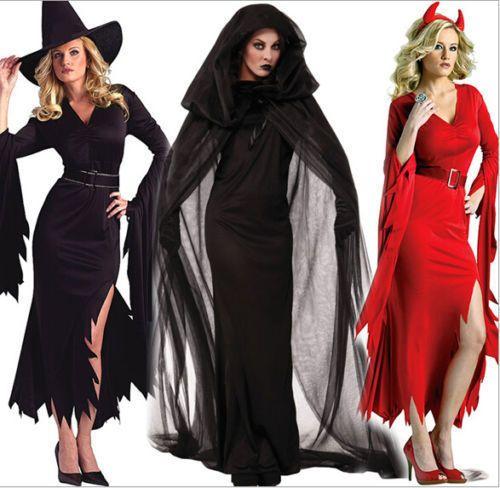 Damen Zauberin Vampir Hexenkostüm Cosplay Halloween Karneval Kostüm Kleid