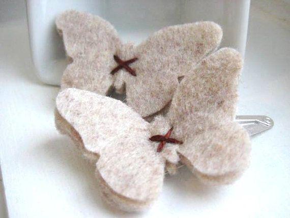 Natural Oatmeal Felt Butterfly Hair Clips - Snap Clip - Hair Accessory