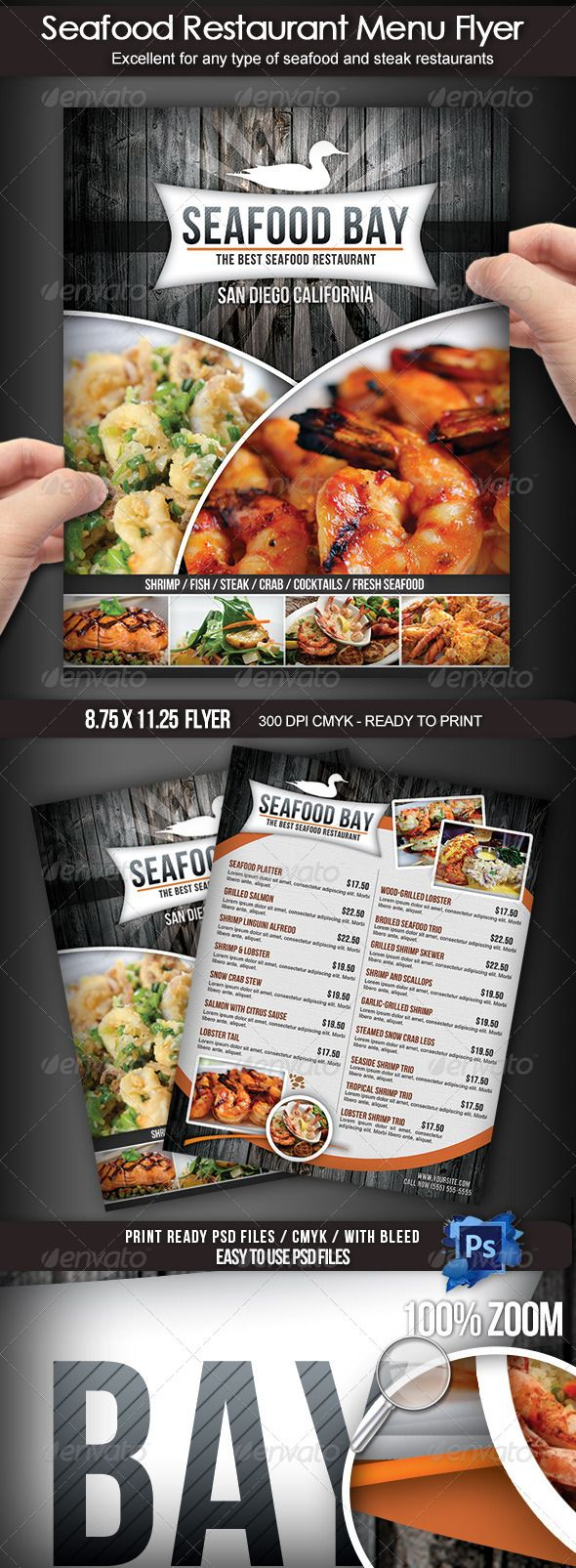 Seafood restaurant menu flyer pinterest design