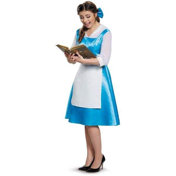Beauty and the Beast Belle Blue Dress Adult Costume ($40) ❤ liked on Polyvore featuring costumes, halloween costumes, belle costume, belle halloween costume, blue costume, adult belle costume and blue halloween costume
