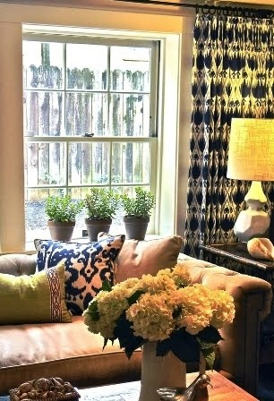 Decor inspiration for nursery - black, white, burlap, green or lighter blue hue, coral, and yellow accent - Ikat fabric