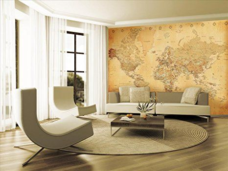 Vintage Map Wall Mural - a great addition to a bedroom or lounge wall! #travel map vintage large wallpaper