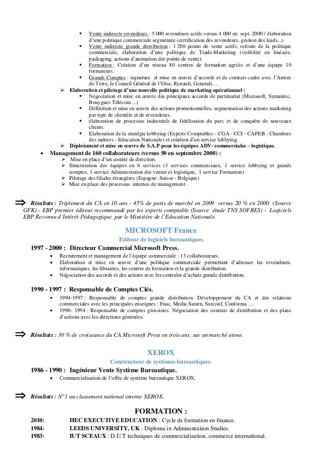 Cv En Francais 01 10 12 Marketing Techniques Executive Education Commerce International