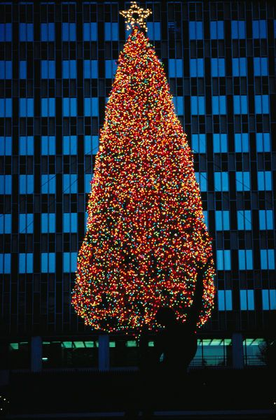 Christmas in Boston in front of the Prudential Tower