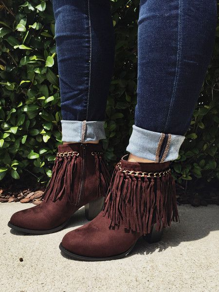 Life Is Good Fringe Ankle Boots - Brown from Chocolate Shoe Boutique