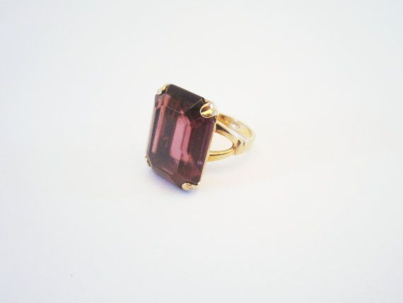 Vintage Jewelry Gold tone Avon ring purple stone by NewUsedVintage, $8.00
