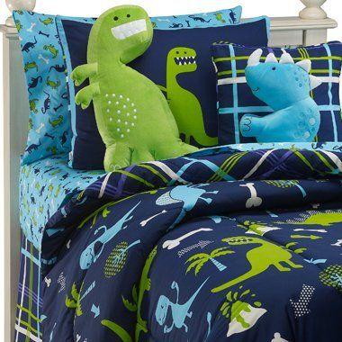 Dinosaurs Boys Twin Comforter Set + BONUS PILLOW (7 Piece Room In A Bag):Amazon:Home & Kitchen