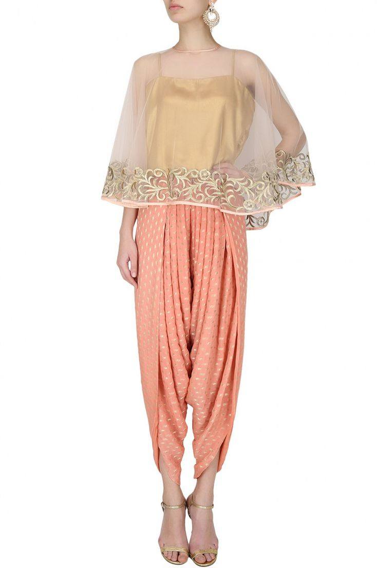 RIDHI ARORA Light peach floral zari embroidered cape with an inner and banarasi dhoti pants set
